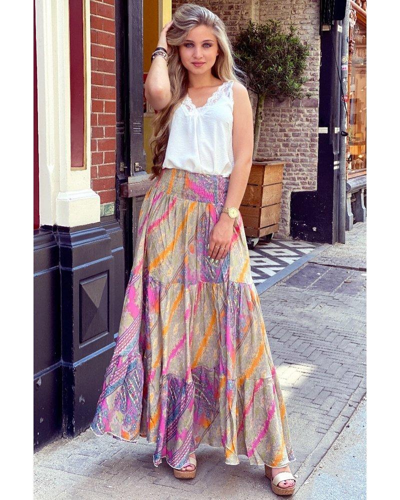 Amber Maxi Skirt - Taupe/Orange/Pink