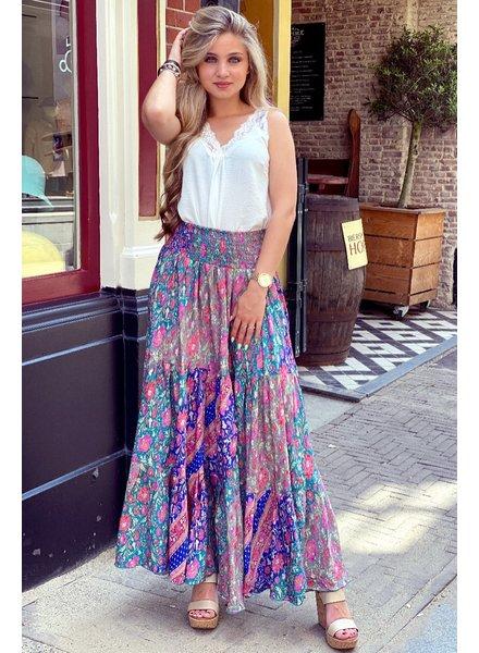 Amber Maxi Skirt - Blue/Turquoise/Grey