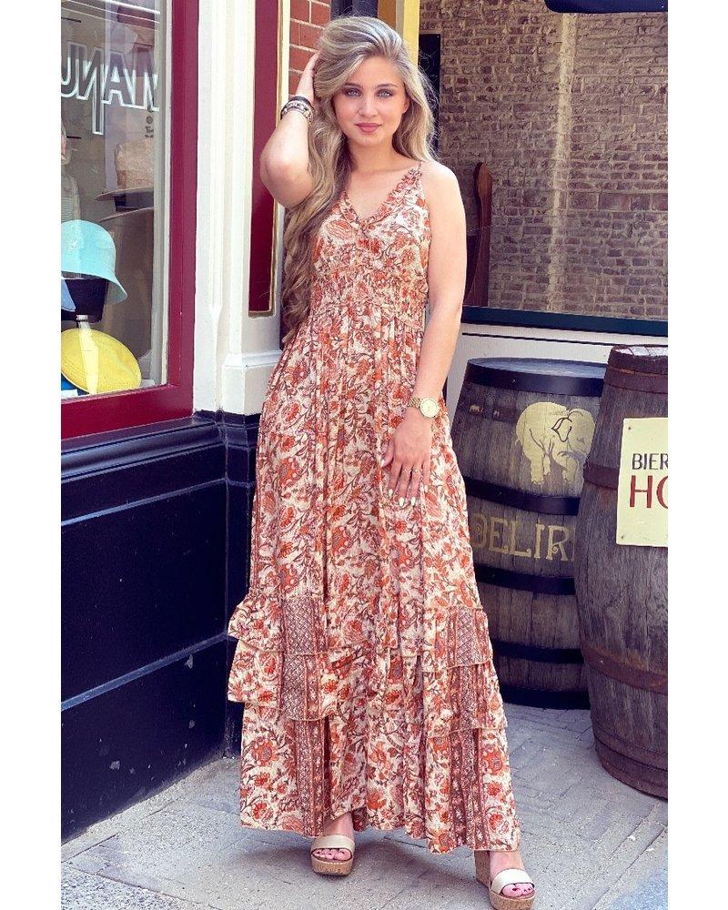 Indy Smocked Dress - Beige/Orange