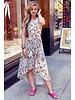 Fallon Paisley Ruffle Dress - Beige / Turquoise / Kobalt