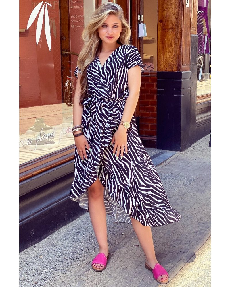 Fallon Zebra Ruffle Dress - Black/White