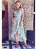 Fallon Leopard Ruffle Dress - Beige/Turquoise