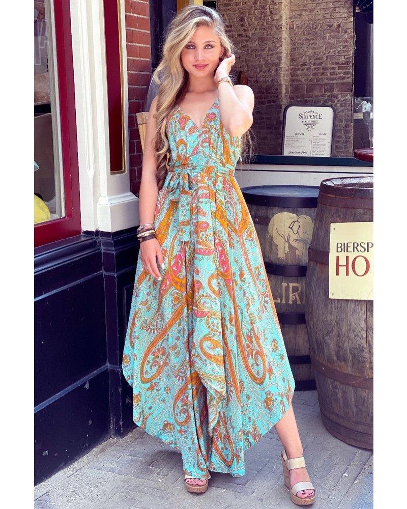 Suus Strik Dress - Turquoise/Orange