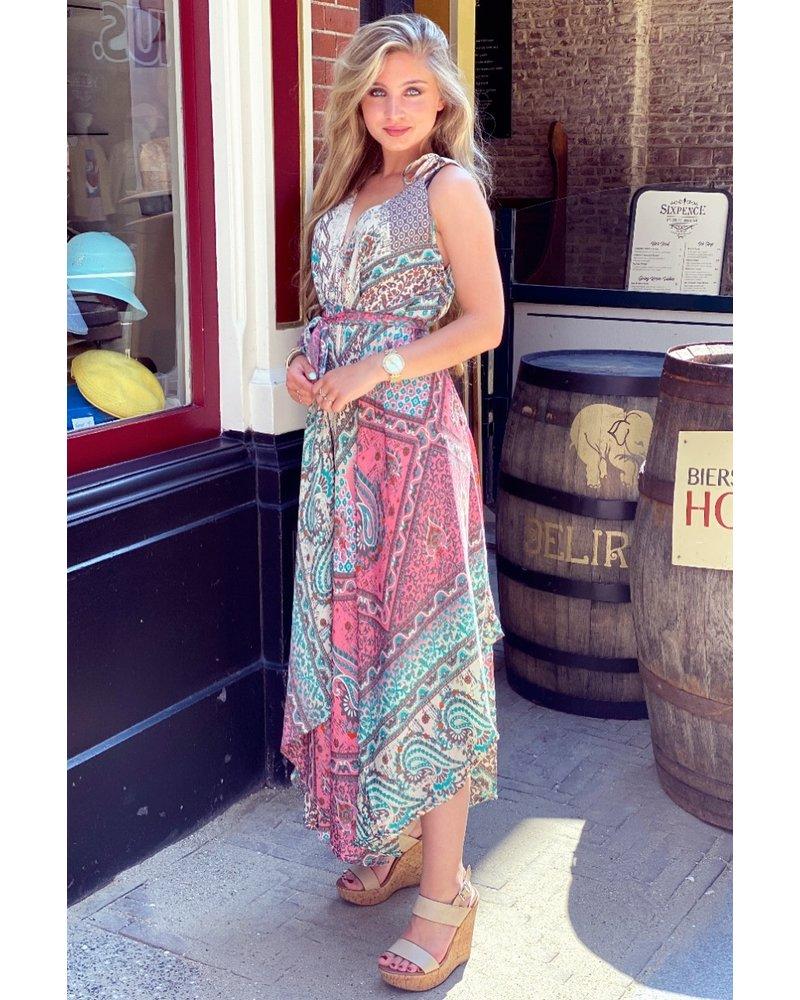 Suus Strik Dress - Beige/Pink/Turquoise