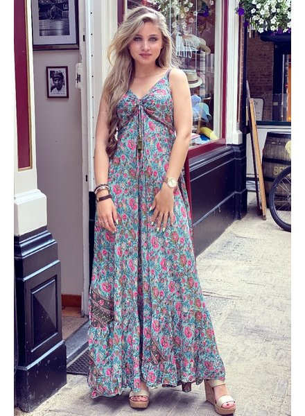 Floor Flower Dress - Turquoise/Pink/Green