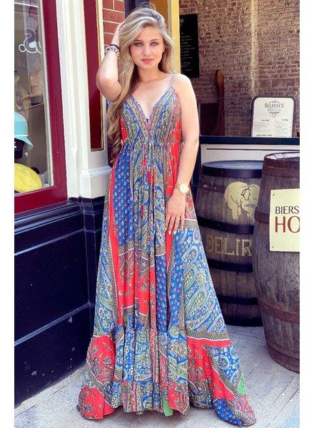 Chayenne Maxi Dress - Green/Red/Kobalt