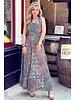 Liva Smocked Dress - Brown/Blue/Pink