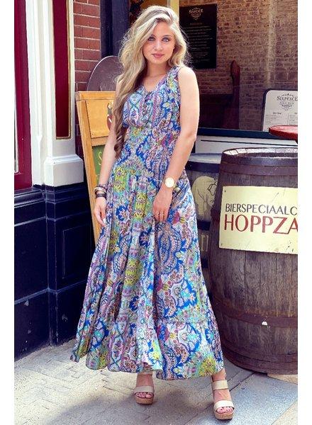 Liva Smocked Dress - Kobalt/Green/Fuchsia
