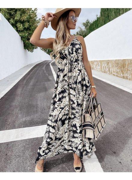 Perfect Leaves Dress - Black/White