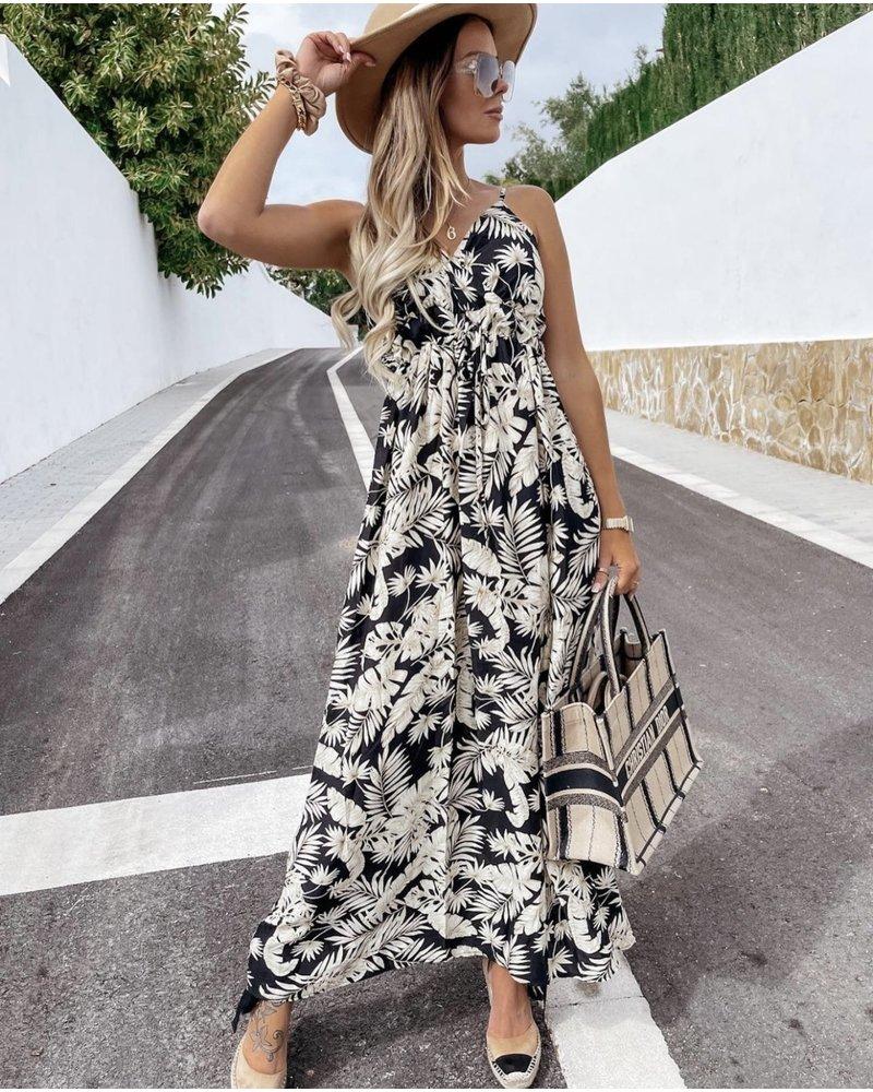 Perfect Leaves Dress - Black/White/Beige