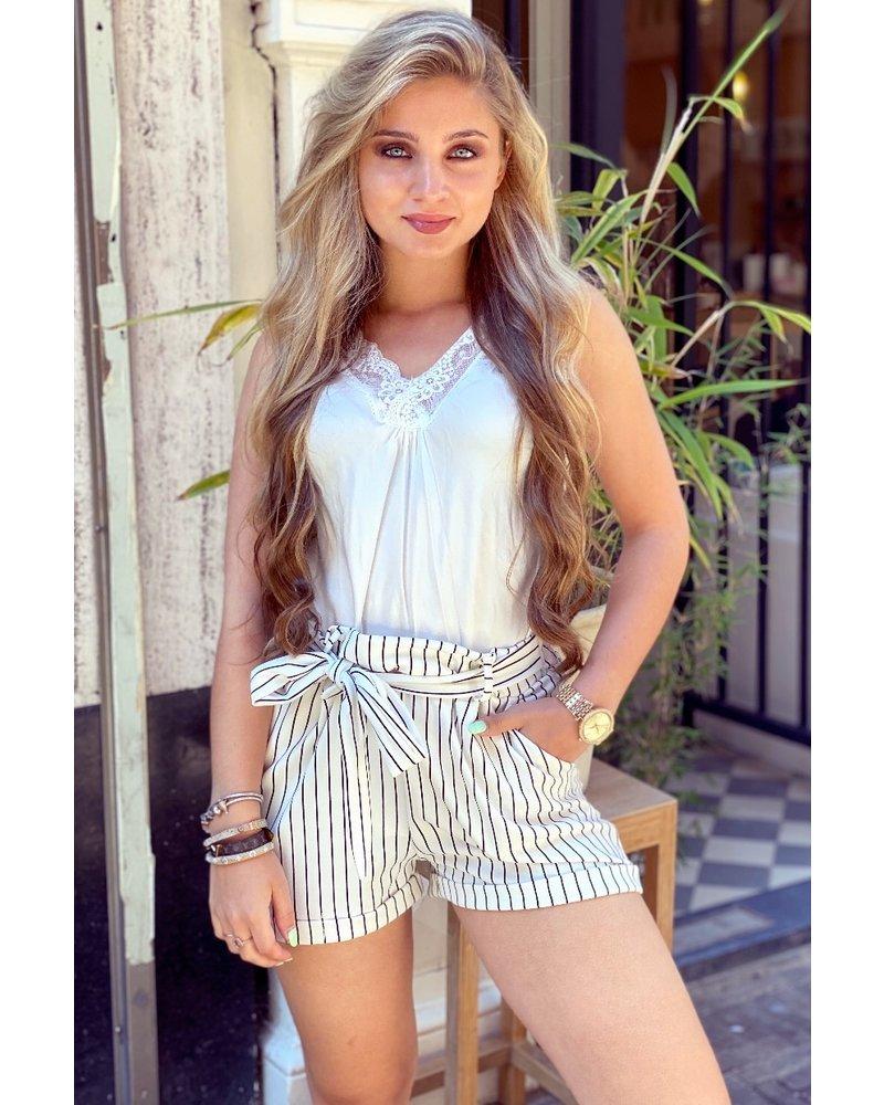 Stylish Striped Summer Short - White