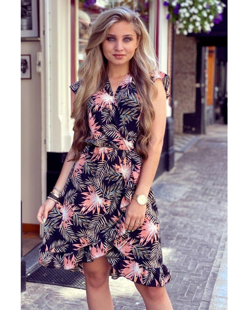 Fenne Short Flower Dress - Black/Pink