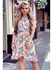 Fenne Short Flower Dress - Beige/Pink