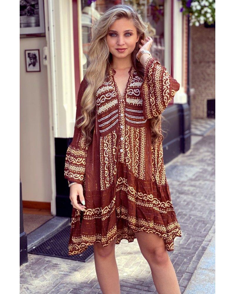 Faya Bohemian Dress - Brown/Beige