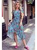 Fallon Leaves Ruffle Dress - Turquoise/Peach
