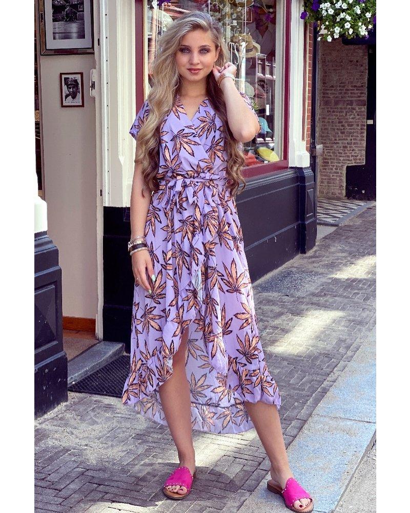 Fallon Leaves Ruffle Dress - Lilac/Brown