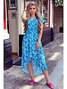 Fallon Leaves Ruffle Dress - Light Blue