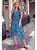 Fallon Leaves Ruffle Dress - Petrol/Orange