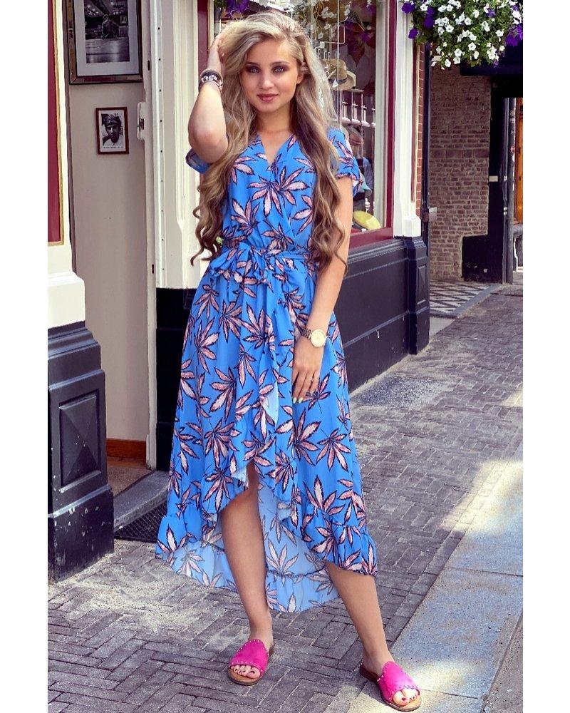 Fallon Leaves Ruffle Dress - Blue/Light Pink