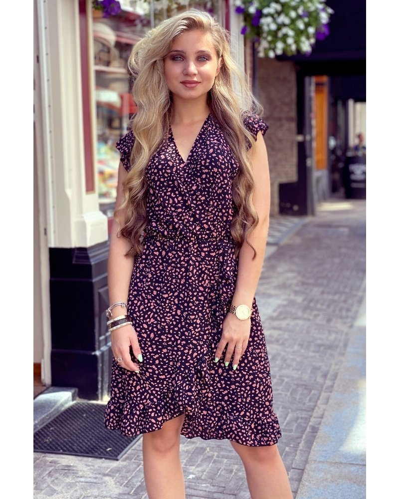 Fenne Short Cheetah Dress - Black/Pink