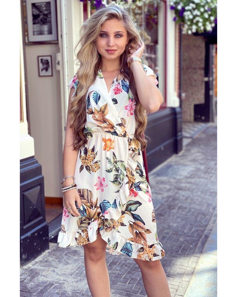 Fenne Short Leaves Dress - Beige