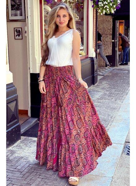 Amber Maxi Skirt - Fuchsia/Camel/Navy