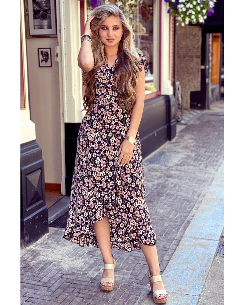 Spanish  Flower Dress - Black, Beige, Light Pink