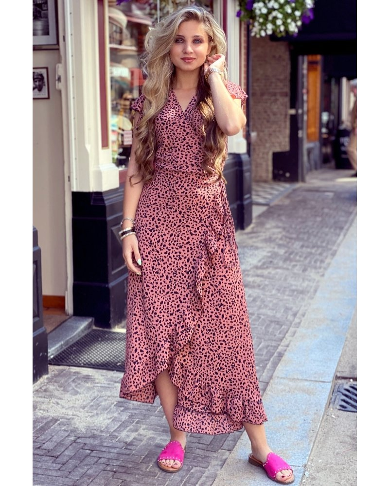 Spanish  Cheetah Dress - Pink/Black