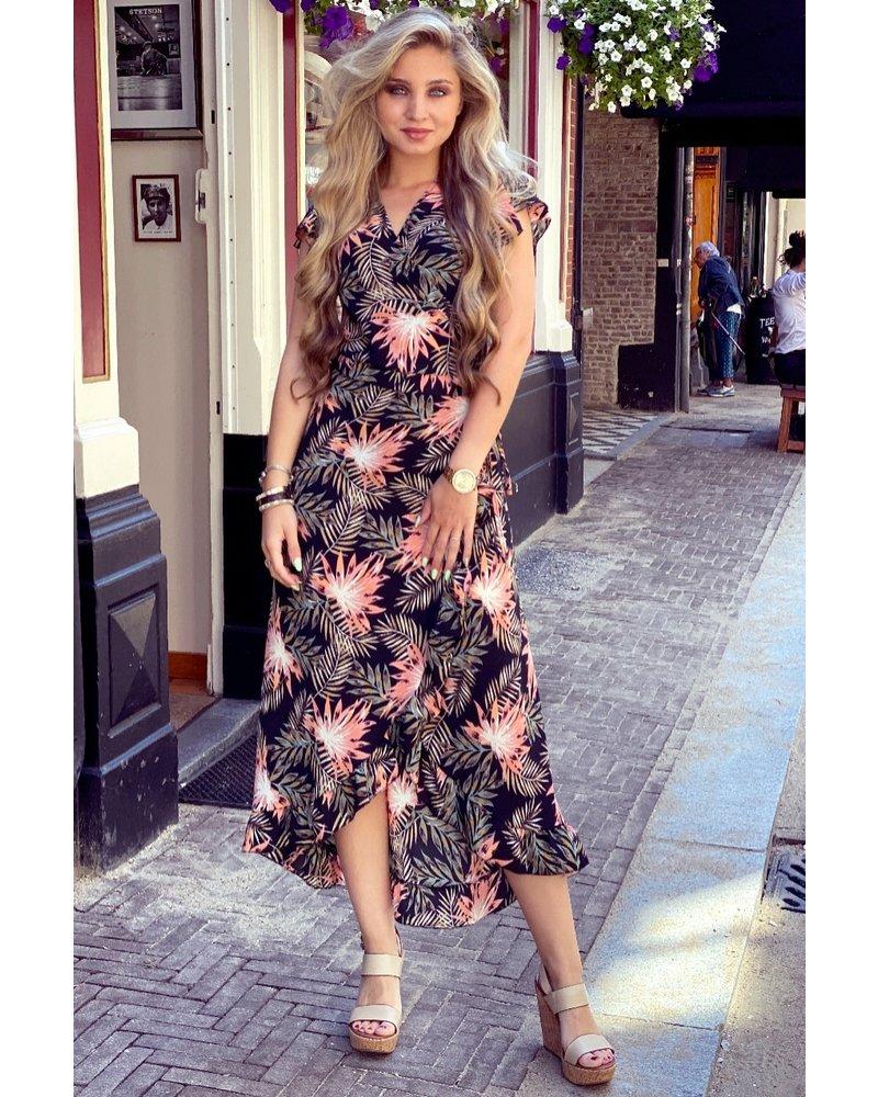 Spanish  Flower Dress - Black/Pink