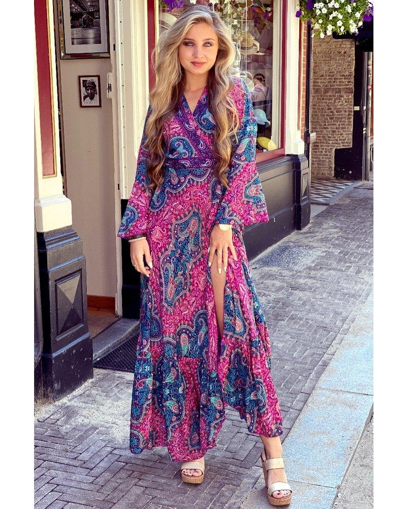 Indian Summer Dress - Fuchsia/Navy/Turquoise