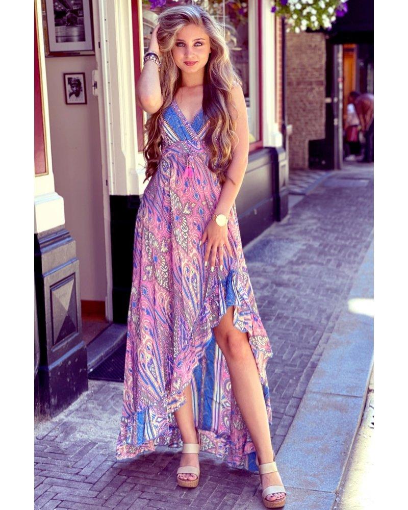 Linda Smocked Ruffle Dress - Pink/Blue/Grey