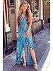 Linda Smocked Ruffle Dress - Turquoise/Kobalt/Pink