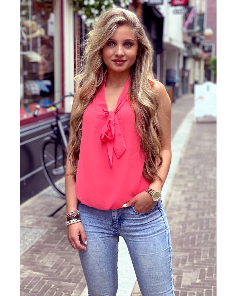 Top with Neck Tie - Coral