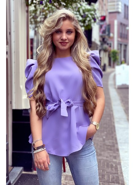 Puffy Sleeve Top with Tie - Purple