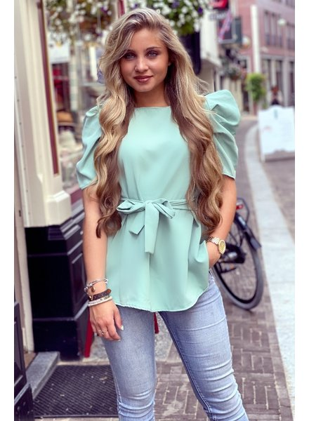 Puffy Sleeve Top with Tie - Turquoise