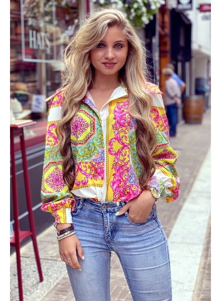 Printed Button Blouse - White/Yellow/Pink