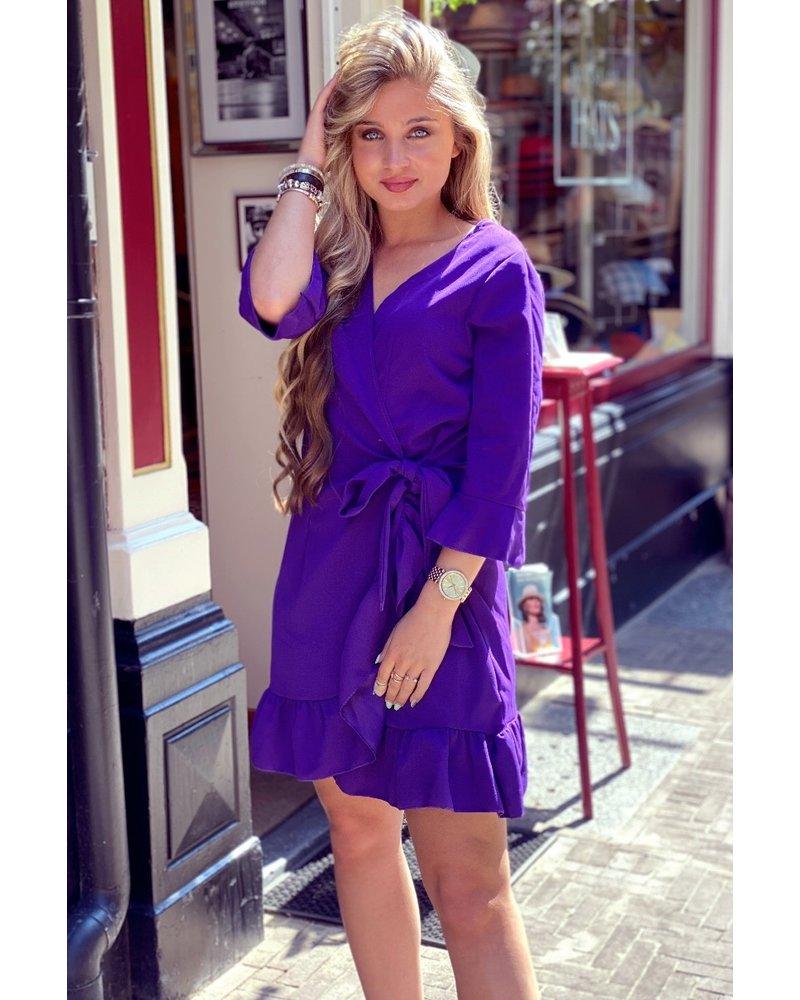 Short Wrap Dress with Ruffles - Purple