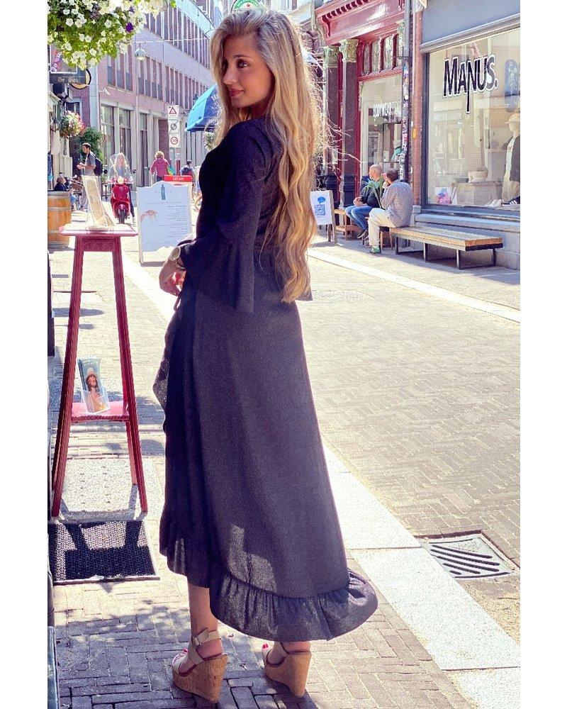 Glitter Ruffle Dress - Black