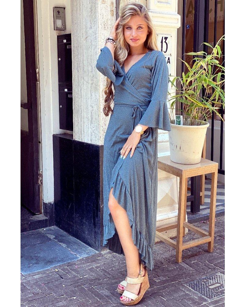 Glitter Ruffle Dress - Grey