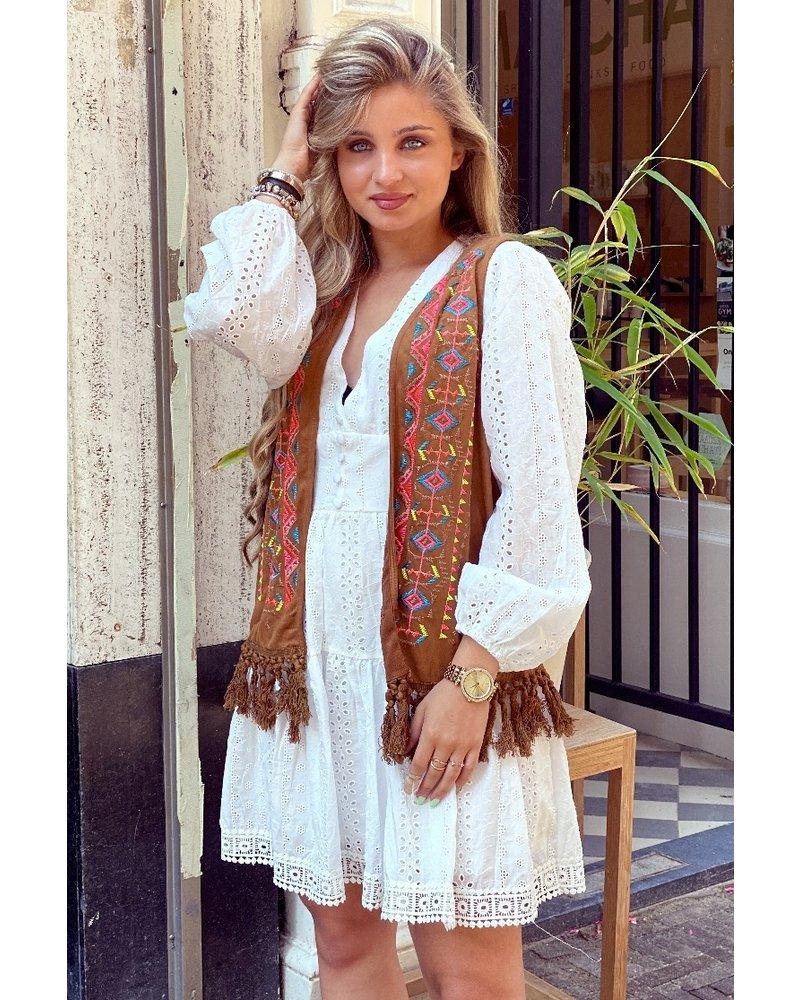 Indian Fringe Gilet - Brown