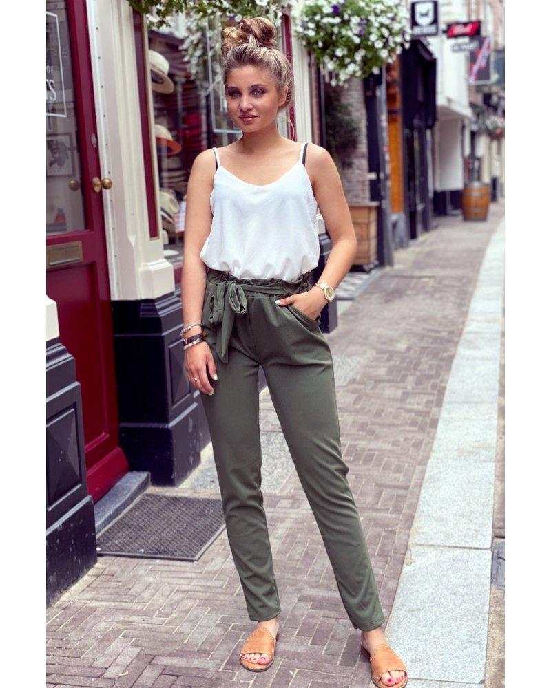 Strik Ruffle Pants - Army Green
