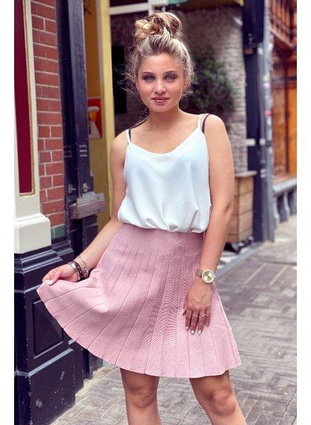 Short Pleated Skirt - Light Pink