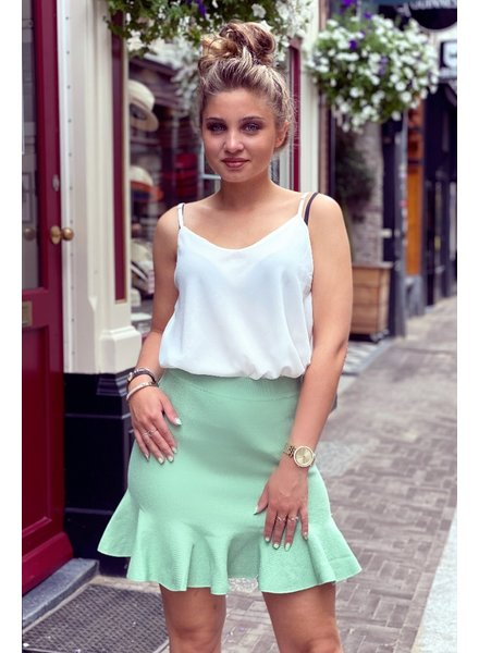 Short Ruffle Skirt - Light Green