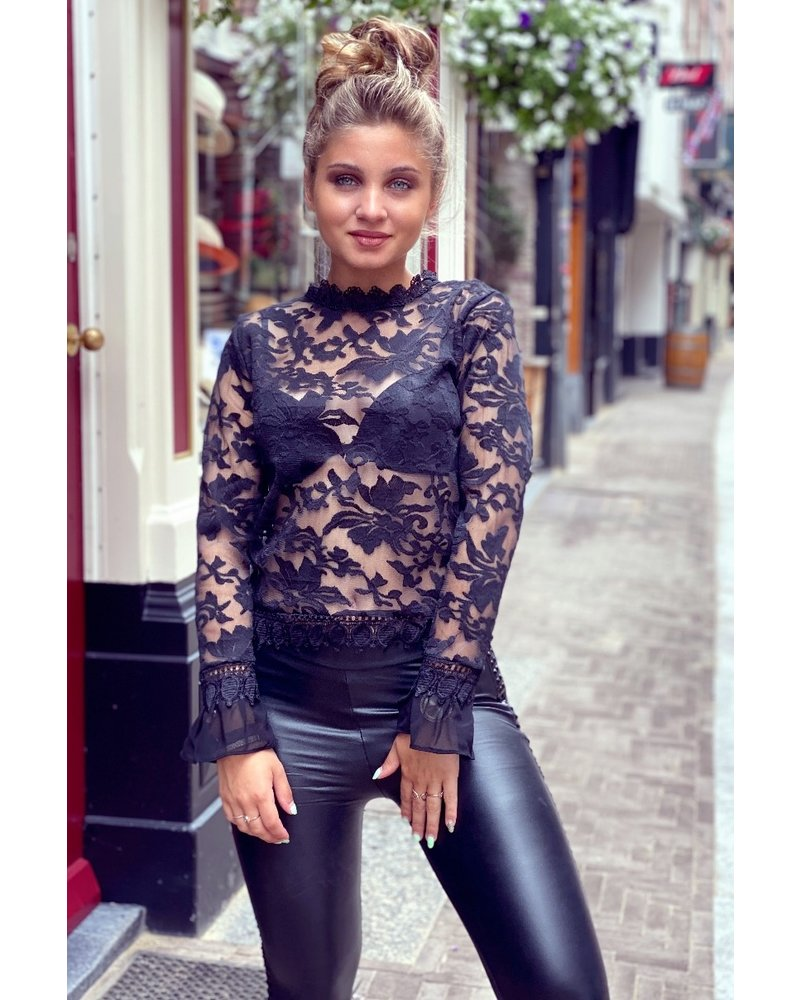 Sheer Lace Top - Black
