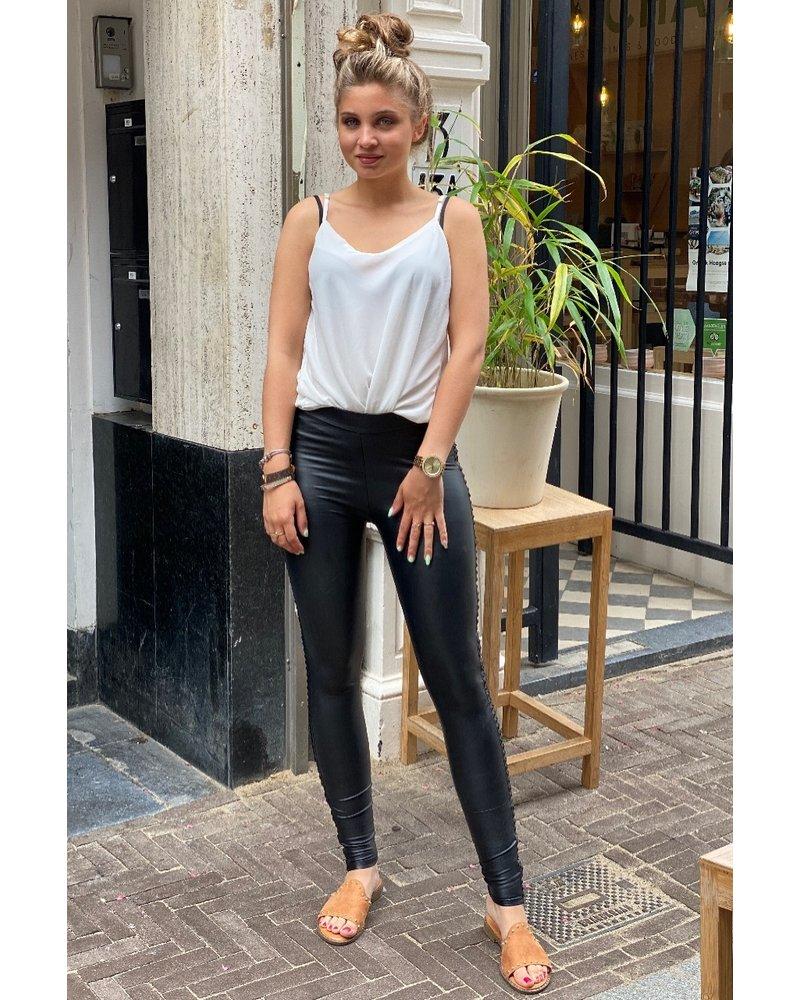 Leather Studded Legging - Black