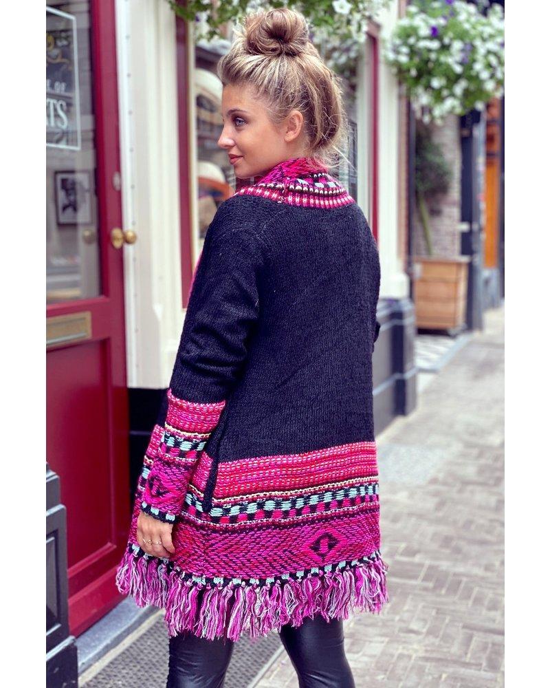 Tess Knitted Cardigan - Black / Fuchsia