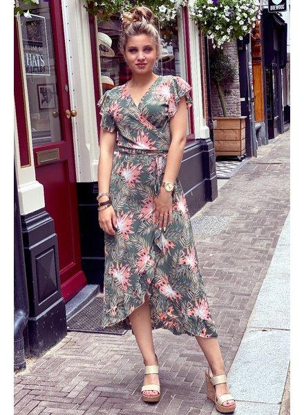 Spanish  Flower Dress - Army Green / Pink