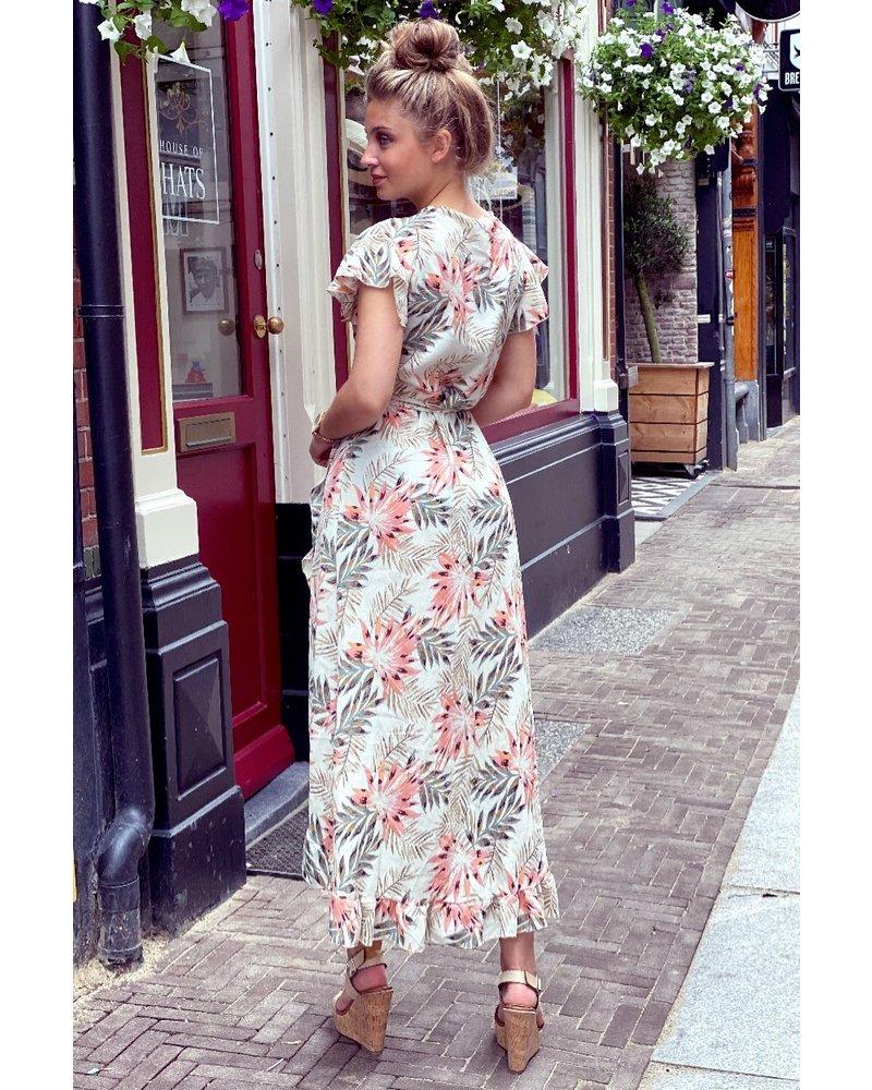 Spanish  Flower Dress - Beige / Pink