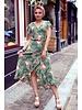 Spanish  Flower Dress - Green / Pink