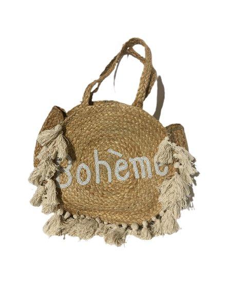 Ibiza Boheme Beach Bag - Beige / White